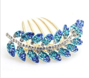 Ecloud ShopUS® alloy New Lovely Fashion Blue Leaves gold plated Crystal Hair Clip Hair