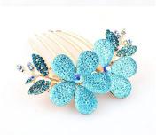 Ecloud ShopUS® Fashion Lady Flower Pattern Alloy Blue Barrette Comb Charm