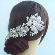 Sindary Wedding Headpiece 18cm Silver-tone Clear Rhinestone Crystal Orchid Flower Bridal Hair Comb Wedding Hair Comb
