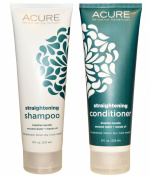 Acure Organics Coconut Hair Straightening All Natural Shampoo and Conditioner Bundle (Sulphate Free) With Keratin Complex Hair Treatment, Marula Oil for Hair, Argan Oil of Morrocco, Aloe Vera and Acai for Men and Women, 240ml each