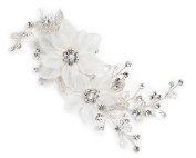 USABride Rhinestone and Tulle Flower Wedding Side Hair Comb 2264