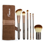 Sixplus New 6pcs Makeup Brush Set with Coffee Flannel Bag