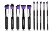 XMY Makeup 10 Pcs Premium Synthetic Makeup Brushes Set Cosmetics Foundation Blending Blush Eyeliner Face Powder Brush Make up Brush Kit for Face/eye/lip
