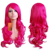 """eNilecor 32"""" 80cm Long Curly Wavy Cosplay Costume Wig Women Fashion Custom Cosplay Wig with Wig Cap Party Daily Wig"""