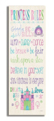 Stupell Industries The Kids Room Princess Rules with Castle Typography Skinny Rectangle Wall Plaque