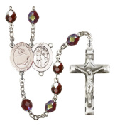 Silver Plate Rosary features 7mm Garnet Lock Link Aurora Borealis beads. The Crucifix measures 1 3/4 x 1. The centrepiece features a St. Sebastian / Dance medal.