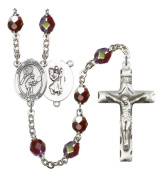 Silver Plate Rosary features 7mm Garnet Lock Link Aurora Borealis beads. The Crucifix measures 1 3/4 x 1. The centrepiece features a St. Christopher/Hockey medal.