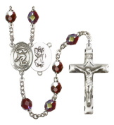 Silver Plate Rosary features 7mm Garnet Lock Link Aurora Borealis beads. The Crucifix measures 1 3/4 x 1. The centrepiece features a St. Christopher/Track & Field medal.
