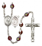 Silver Plate Rosary features 7mm Garnet Lock Link Aurora Borealis beads. The Crucifix measures 1 3/4 x 1. The centrepiece features a St. Sebastian / Softball medal.