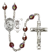 Silver Plate Rosary features 7mm Garnet Lock Link Aurora Borealis beads. The Crucifix measures 1 3/4 x 1. The centrepiece features a St. Christopher/Basketball medal.