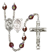 Silver Plate Rosary features 7mm Garnet Lock Link Aurora Borealis beads. The Crucifix measures 1 3/4 x 1. The centrepiece features a St. Sebastian / Track & Field medal.