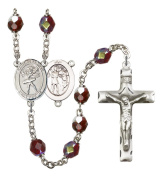 Silver Plate Rosary features 7mm Garnet Lock Link Aurora Borealis beads. The Crucifix measures 1 3/4 x 1. The centrepiece features a St. Sebastian/Swimming medal.