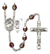 Silver Plate Rosary features 7mm Garnet Lock Link Aurora Borealis beads. The Crucifix measures 1 3/4 x 1. The centrepiece features a St. Christopher / Dance medal.