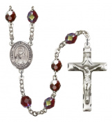 Silver Plate Rosary features 7mm Garnet Lock Link Aurora Borealis beads. The Crucifix measures 1 3/4 x 1. The centrepiece features a Blessed Emilie Tavernier Gamelin medal.
