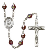 Silver Plate Rosary features 7mm Garnet Lock Link Aurora Borealis beads. The Crucifix measures 1 3/4 x 1. The centrepiece features a Guardian Angel / Golf medal.