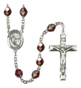 Silver Plate Rosary features 7mm Garnet Lock Link Aurora Borealis beads. The Crucifix measures 1 3/4 x 1. The centrepiece features a Guardian Angel/Soccer medal.