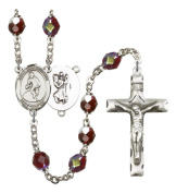 Silver Plate Rosary features 7mm Garnet Lock Link Aurora Borealis beads. The Crucifix measures 1 3/4 x 1. The centrepiece features a St. Christopher/Softball medal.