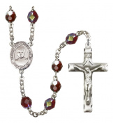 Silver Plate Rosary features 7mm Garnet Lock Link Aurora Borealis beads. The Crucifix measures 1 3/4 x 1. The centrepiece features a St. Edmund of East Anglia medal.