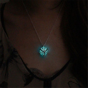 Hollow Tree of Life Necklace Pendant Luminous Glow in the Dark Locket Jewellery Sky Blue