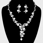 Elegant Crystal Accent Pearl Vine Bridal Necklace and Earring Wedding Accessory Gift