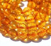Citrine 8mm round faceted yellow jewellery beads -7.4 inch strand
