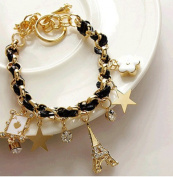 S*ACT NEW Cute double triple layers Bracelet with Charms plate and Colourful Beads for young ladies students girls