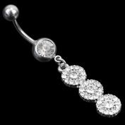 Ecloud ShopUS® Shiny Belly Button Ring Triple Clear Rhinestone Crystal Girl Piercing Jewellery