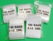 500 ZIPLOCK CLEAR PLASTIC BAGS 5.1cm x 5.1cm ZIP LOCK 2mil RECLOSABLE PLASTIC BAGS (E 9) NOVELTOOLS