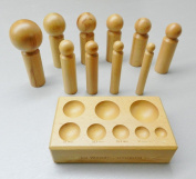 DAPPING BLOCK AND PUNCHES WOODEN SET 10 SIZES WOOD FORMING DOMING jewellery MAKING (LZ 3.2 FRE) NOVELTOOLS