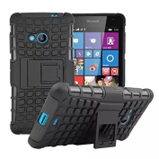 For Microsoft Lumia 535, Hybrid Heavy Duty Dual Layer Shock Proof Rugged Shell Grenade Grip Tyre Textured Kickstand Case Cover