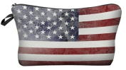 American Flag Cosmetic Makeup Pencil Bag Case Clutch Pouch Purse Zipper Handbag