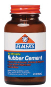 Elmer's No-Wrinkle Rubber Cement, Clear, Brush Applicator, 120ml