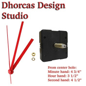 Dhorcas (#05) 1.9cm Threaded Motor and Red 13cm Hands, Quartz Clock Movement Kit for Replacement