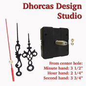 Dhorcas (#16) 1.9cm Threaded Motor and Black 8.9cm Hands, Quartz Clock Movement Kit for Replacement