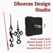 Dhorcas (#16) 1.9cm Threaded Motor and Black 8.9cm Hands, Quartz Clock Movement Kit for Replacement