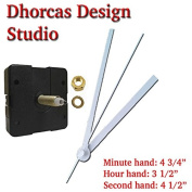 Dhorcas (#04) 1.9cm Threaded Motor and White 13cm Hands, Quartz Clock Movement Kit for Replacement