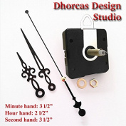 Dhorcas (#07) 1.9cm Threaded Motor and Black 8.9cm Hands and Hanger, Quartz Clock Movement Kit for Replacement