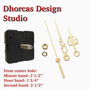 Dhorcas (#10) 1.9cm Threaded Motor and Gold 6.4cm Hands, Quartz Clock Movement Kit for Replacement