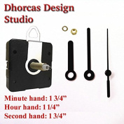 Dhorcas (#11) 1.9cm Threaded Motor and Black 4.4cm Hands and Hanger, Quartz Clock Movement Kit for Replacement