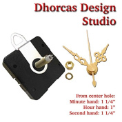 Dhorcas (#17) 1.9cm Threaded Motor and Gold 3.2cm Hands and Hanger, Quartz Clock Movement Kit for Replacement