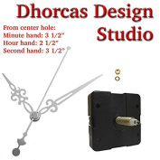Dhorcas (#012) 1.9cm Threaded Motor and Silver 8.9cm Hands, Quartz Clock Movement Kit for Replacement