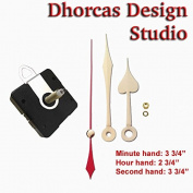 Dhorcas (#13) 1.9cm Threaded Motor and Gold 9.5cm Hands and Hanger, Quartz Clock Movement Kit for Replacement