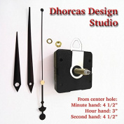 Dhorcas (#06) 1.9cm Threaded Motor and Black 11cm Hands and Hanger, Quartz Clock Movement Kit for Replacement