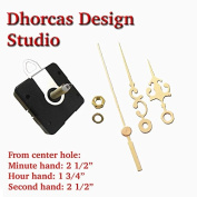 Dhorcas (#10) 1.9cm Threaded Motor and Gold 6.4cm Hands and Hanger, Quartz Clock Movement Kit for Replacement