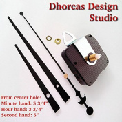 Dhorcas (#03) 1.3cm Threaded Motor and Black 15cm Hands and Hanger, Quartz Clock Movement Kit for Replacement