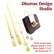 Dhorcas (#02) 1.3cm Threaded Motor and Gold 15cm Hands and Hanger, Quartz Clock Movement Kit for Replacement