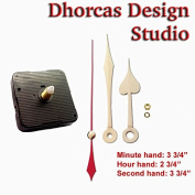 Dhorcas (#13) 1.3cm Threaded Motor and Gold 9.5cm Hands, Quartz Clock Movement Kit for Replacement