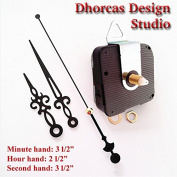 Dhorcas (#07) 1.3cm Threaded Motor and Black 8.9cm Hands and Hanger, Quartz Clock Movement Kit for Replacement
