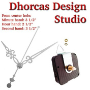 Dhorcas (#012) 1.3cm Threaded Motor and Silver 8.9cm Hands and Hanger, Quartz Clock Movement Kit for Replacement