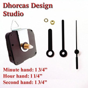 Dhorcas (#11) 1.3cm Threaded Motor and Black 4.4cm Hands and Hanger, Quartz Clock Movement Kit for Replacement